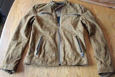 Vintage Superdry Jacketeers Real Hero Leather Camel Suede Biker Jacket Zip Small