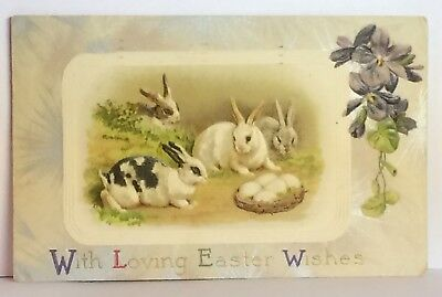 PostCard With Loving Easter Wishes Bunnies Floral Posted 3-23-1910 Vintage