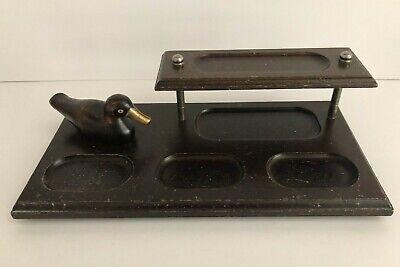 Vintage 2 Tier Apex Wood Desk Organizer With Glass Eyed Duck Figurine
