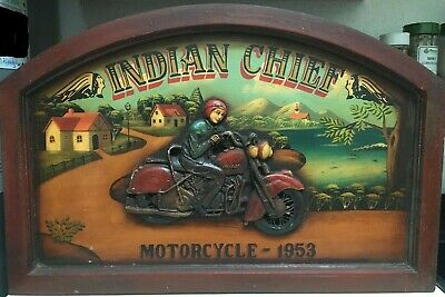 Vintage Indian Chief Motorcycle 1953 3D Hand Painted Wood Advertising Sign Rare