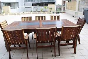 1 year old solid wooden outdoor dining table with 8 chairs Brighton-le-sands Rockdale Area Preview
