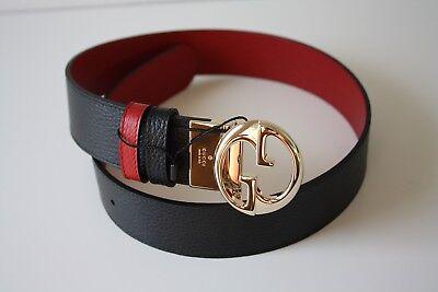Gucci Ceinture en Cuir Unisexe 450000 Gr. 90 Noir Rouge Or