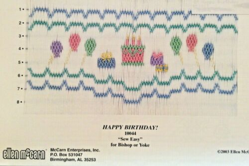 ELLEN MCCARN SMOCKING PLATE #10044 HAPPY BIRTHDAY