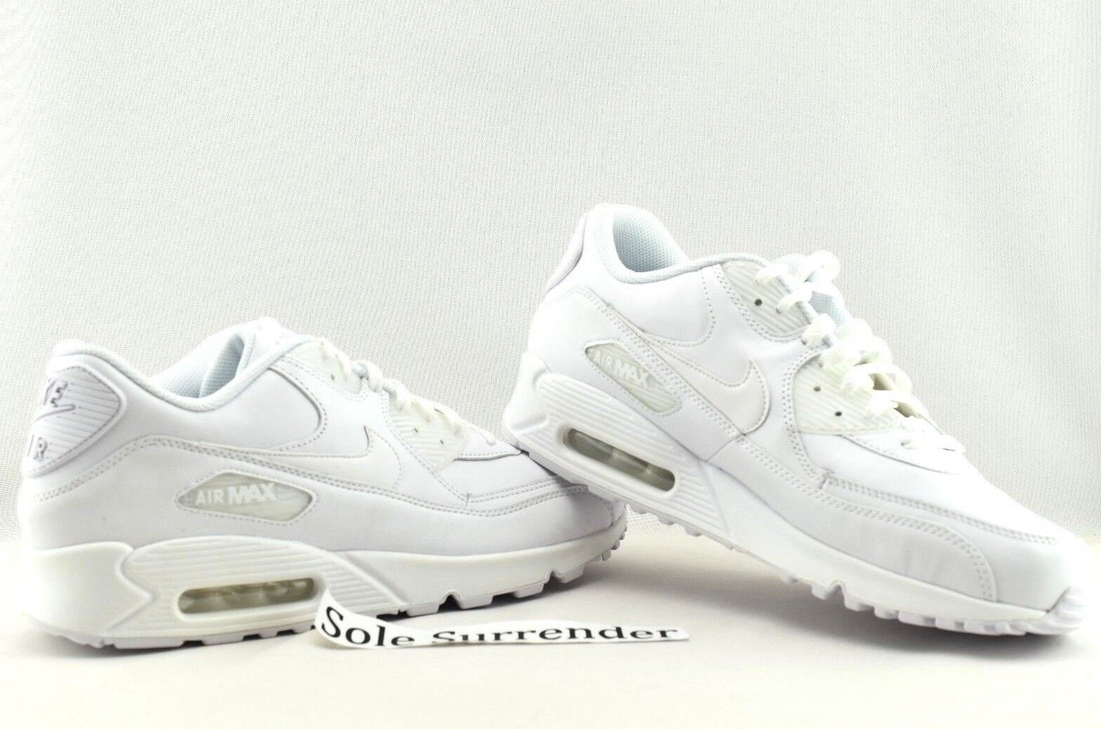 Nike Air Max 90 Leather CHOOSE SIZE 302519113 Triple Whiteout Retro OG