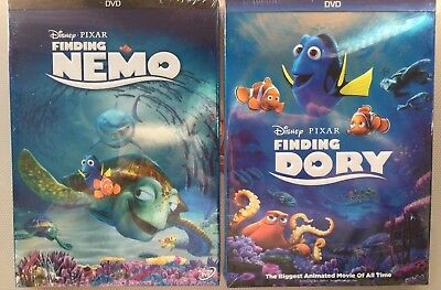 Finding Nemo & Finding Dory Disney Pixar (2 Movie DVD Bundle)  NEW & SEALED!