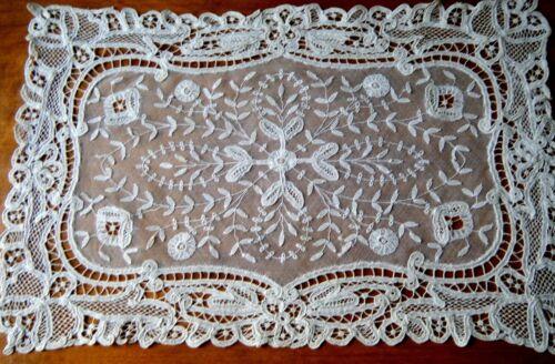 18c Brussels Princess lace Dresser scarf w Maltese cross   H made