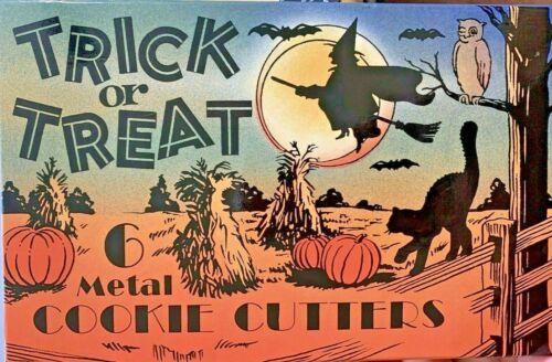 Vintage 6 Halloween Metal Cookie Cutters Set in Original Box--Never Used