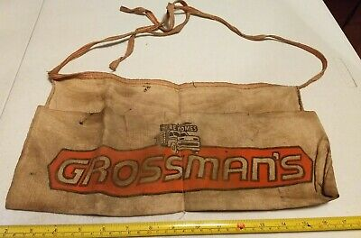 Vintage Grossman's Truck Graphics Advertising Hardware Store Canvas Nail Apron