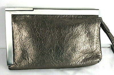 Calvin Klein Wristlet Clutch Metallic Taupe Leather Push Lock Pockets Mirror