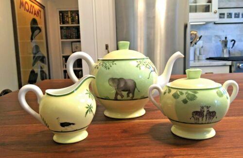Hermes Africa Green Porcelain Tea Set Teapot Creamer Sugar Bowl