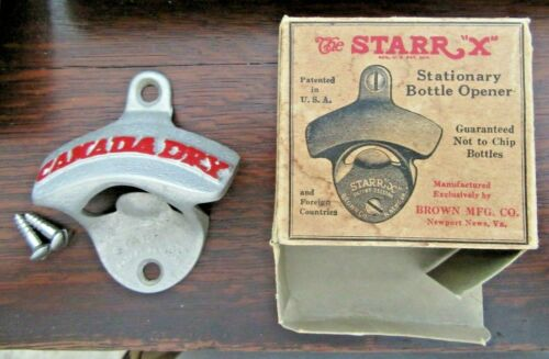 """NOS In Orig. Box Vintage 1940s-50s Canada Dry Starr """"X"""" Wall Mount Bottle Opener"""