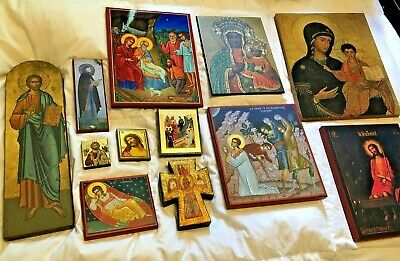 LOT OF 12 BEAUTIFUL CATHOLIC RELIGIOUS ICONS FROM BYZANTINE NUNS CONVENT