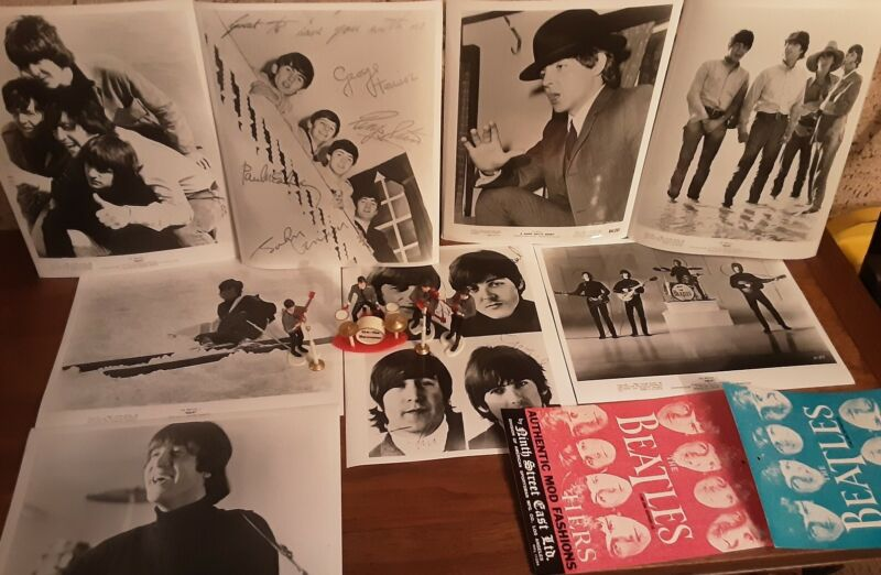 The Beatles Official Fan Club Photo Lot+ Cake Topper