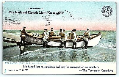Postcard NJ Atlantic City 1906 National Electric Light Assoc Life Saving Crew B6