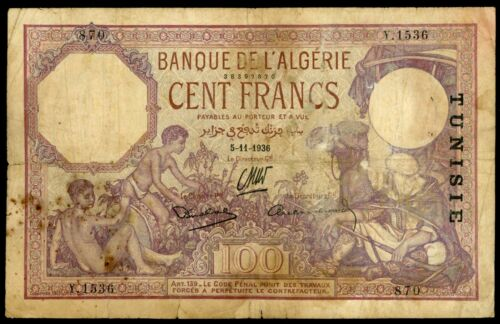 🔸TUNISIA ALGERIA 100 FRANCS 1936 F (L-003)🔸