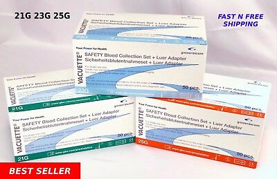 21g23g25g Greiner Butterfly Safety Blood Collection Needles12 Adapter 50bx