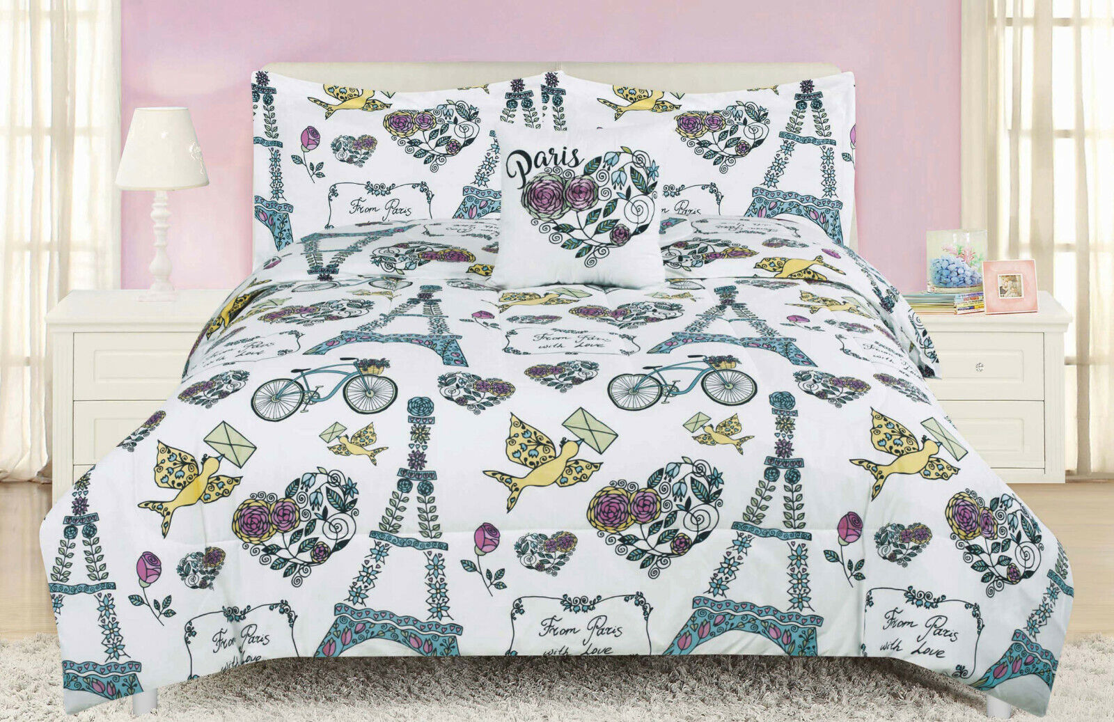 Paris Floral Twin or Full Comforter Bedding Set Flowers French Eiffel Tower Rose Bedding