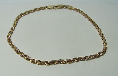 """14KT Yellow Gold INCREDIBLE Rope Chain 8"""" Bracelet With Lobster Claw Clasp R8463"""