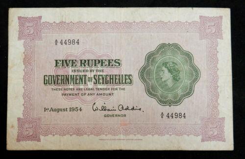 Seychelles 5 Rupees, 1954. QE II. VF. Large note