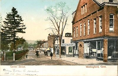 A View Of The Shops On Center Street  Wallingford  Connecticut Ct 1907