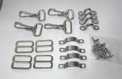 16 pcs. STRAP KIT Bimini Boat Top EYES Snaps BUCKLES stainless nickel  DECK