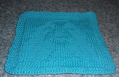 Brand New Hand Knit Cocker Spaniel Dog Blue Dish Cloth For Dog Rescue Charity