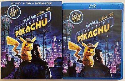 POKEMON DETECTIVE PIKACHU BLU RAY DVD 2 DISC SET + SLIPCOVER SLEEVE BUY IT NOW