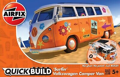 "Brand New Airfix Quick Build ""Fits The Box"" Surfin' V W Camper Van Model Kit."