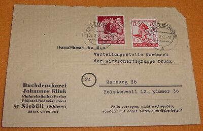 3.Reich Brief 03.1945 Mi. 906 Niebüll Schleswig - Stelle Nordmark Hamburg