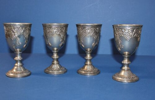 SILVER PLATED GOBLETS 5 IN TALL SET OF FOUR WITH GRAPE PATTERN UNMARKED