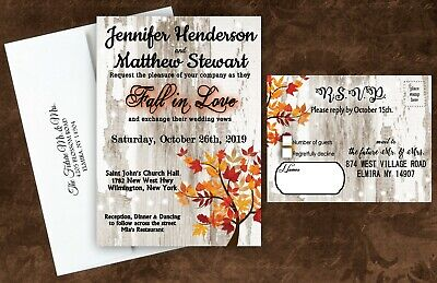 Fall Wedding Invitations Invites with RSVP Cards Bridal Shower Orange Red Set - Wedding Invitations With Rsvp