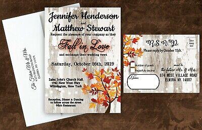 Fall Wedding Invitations Invites with RSVP Cards Bridal Shower Orange Red Set 50