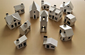 Pack of 12 DIY Putz style glitter houses UNASSEMBLED CORRUGATED CARDBOARD HOUSES
