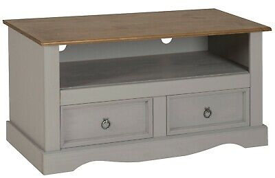 Corona TV Unit Grey Wax Flat Screen Solid Pine Living Room by Mercers Furniture®
