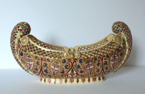 19th C. Fischer J. Budapest Reticulated Ceramic Centerpiece Bowl pre Zsolnay