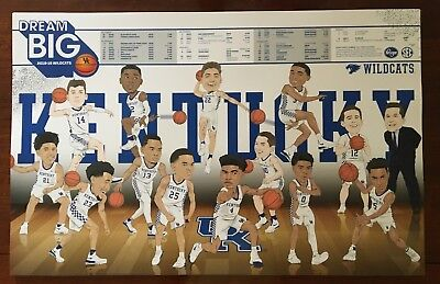 2018-2019 University of Kentucky Wildcats Basketball Schedule Poster UK New