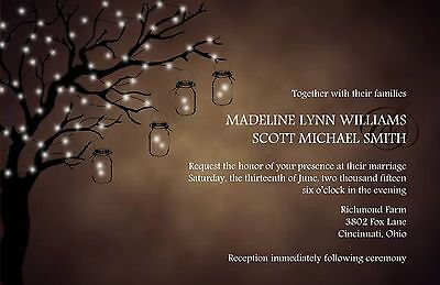 Wedding Invitations Rustic Lighted Tree Country  - 50 Invitations & RSVP Cards - Tree Wedding Invitations