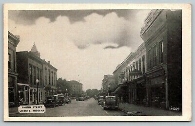 Liberty Indiana~Union Street Stores~Western Auto~1930s Cars~B&W (Union Street Stores)