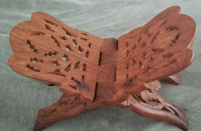 Hand Carved Wooden Book/Bible Stand  Holder
