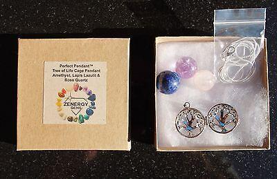 Tree Of Life Amethyst Lapis Lazuli Rose Quartz Crystal Sphere Pendants   Chain