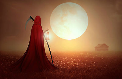 Framed Print - Grim Reaper in a Red Cape Walking to a Cabin (Picture Poster Art)
