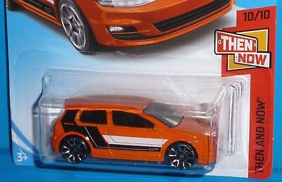 2017 HOT WHEELS Volkswagen VW Golf MK7 Col. #21 Orange Then and Now 50th Card