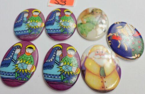 7 Vintage 40x30mm Christmas Theme Angels, Santa Porcelain Colorful Cameos NEW