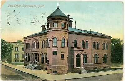 KALAMAZOO MICHIGAN MI-POST OFFICE DIVIDED POSTCARD 1909 CANCEL for sale  Shipping to Canada