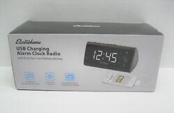 Electrohome Alarm Clock Radio with USB Charging EAAC470W