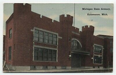 MI ~ State Armory Building KALAMAZOO Michigan 1914 Locally Published Postcard, used for sale  Shipping to Canada