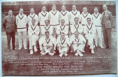 SOUTH AFRICA TO ENGLAND 1929 – VINTAGE JAEGER ADVERTISING CRICKET POSTCARD