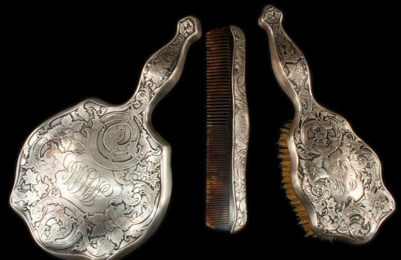 RARE Stunning Antique Art Nouveau William B. Webster Mirror, Comb, Brush Set