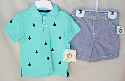 LITTLE ME 100% Cotton 2 pc Woven Mint SAILBOAT Short Set BOY SIZES NWT