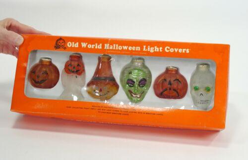 Vintage Old World Halloween Light Covers - 6 Covers - Pumpkins, Skeleton - Decor